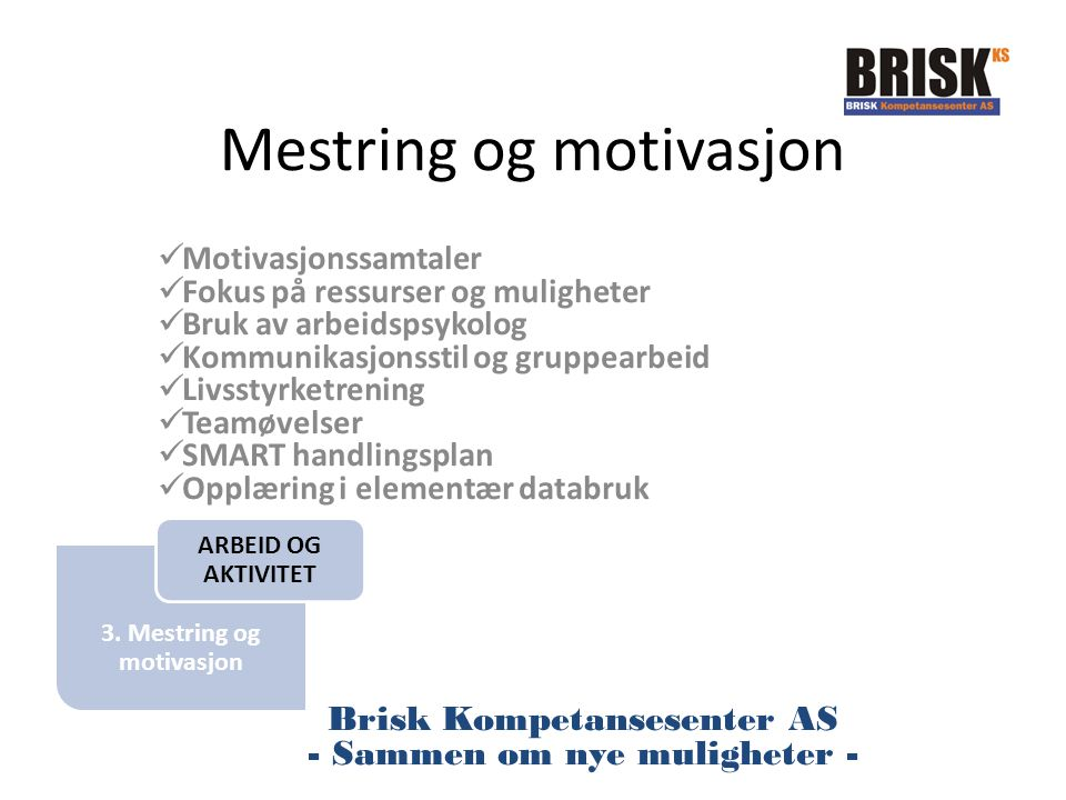 3. Mestring og motivasjon Mestring og motivasjon Motivasjonssamtaler Fokus på ressurser og muligheter Bruk av arbeidspsykolog Kommunikasjonsstil og gr