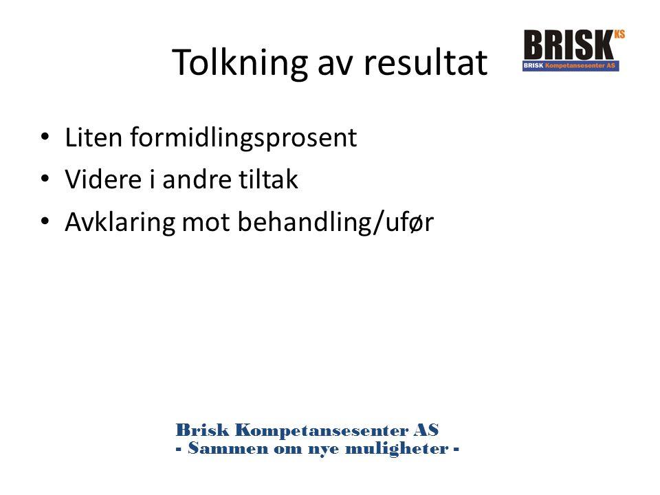 Tolkning av resultat Liten formidlingsprosent Videre i andre tiltak Avklaring mot behandling/ufør Brisk Kompetansesenter AS - Sammen om nye muligheter