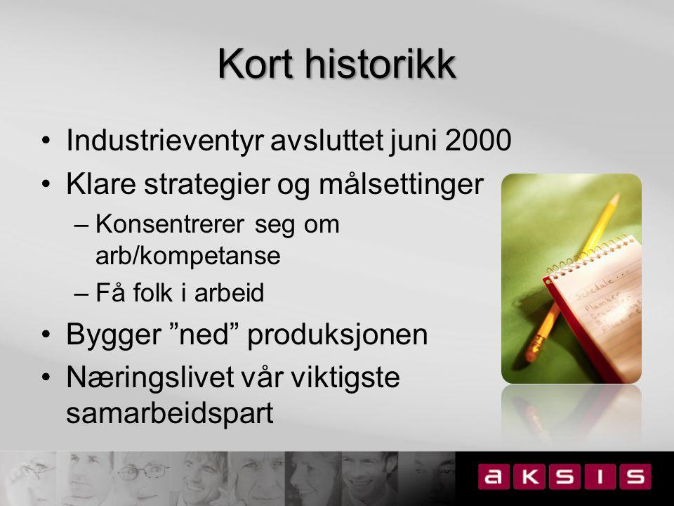 Kort historikk Industrieventyr avsluttet juni 2000 Klare strategier og målsettinger –Konsentrerer seg om arb/kompetanse –Få folk i arbeid Bygger ned produksjonen Næringslivet vår viktigste samarbeidspart