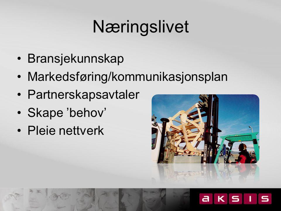 Næringslivet Bransjekunnskap Markedsføring/kommunikasjonsplan Partnerskapsavtaler Skape 'behov' Pleie nettverk