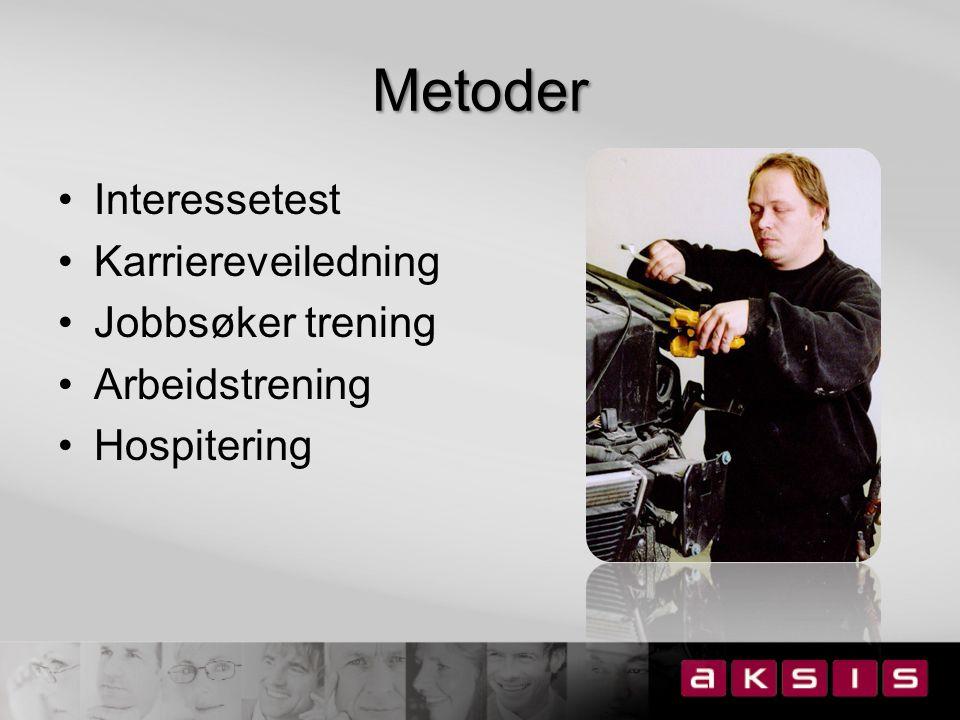 Metoder Interessetest Karriereveiledning Jobbsøker trening Arbeidstrening Hospitering
