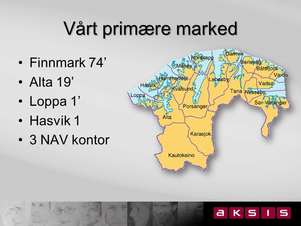 Alta kommune 18 700 innbyggere 8,1 % egenmeldt sykefravær 3,1 % arbeidsledige Variert næringsliv –handelssenter –industri –primærnæringer –turisme