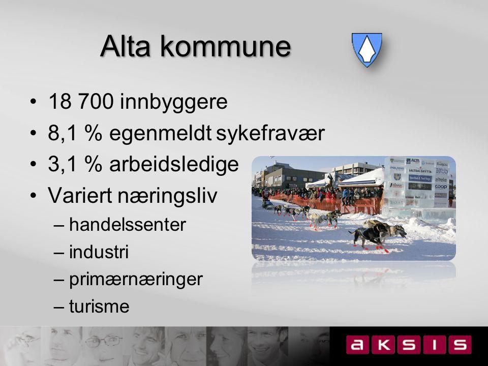 Loppa kommune 1 078 innbyggere 8,2 % egenmeldt sykefravær 4,8 % arbeidsledige Kommunesenter + bygder uten veiforbindelse Ensidig næringsliv