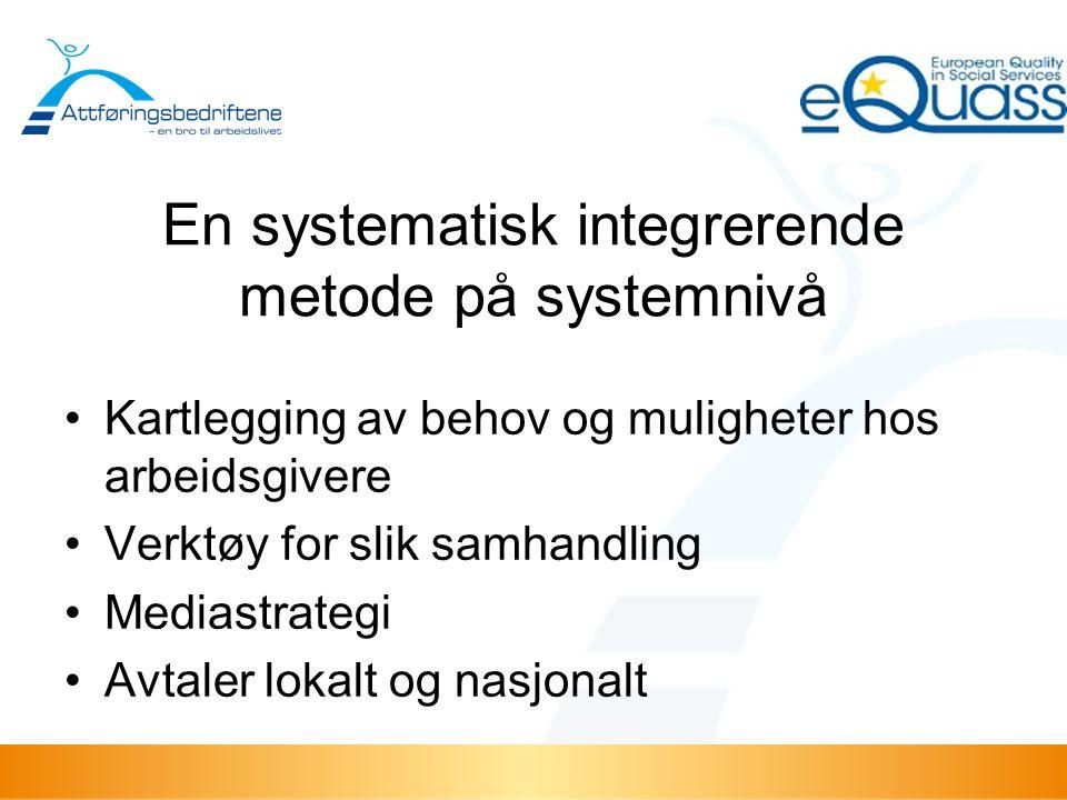 En systematisk integrerende metode på systemnivå Kartlegging av behov og muligheter hos arbeidsgivere Verktøy for slik samhandling Mediastrategi Avtaler lokalt og nasjonalt