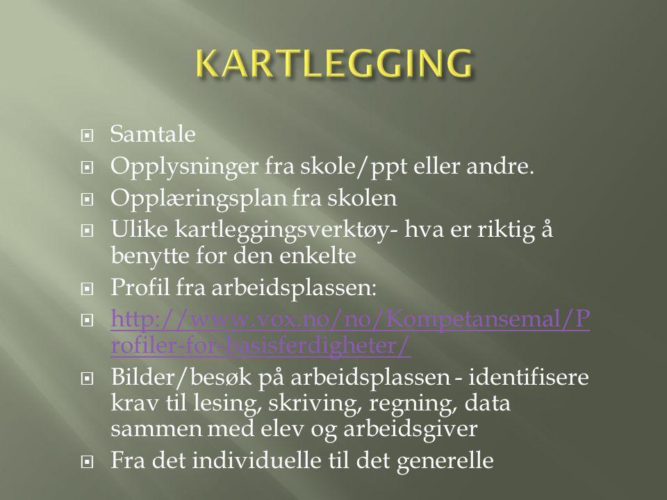  Samtale  Opplysninger fra skole/ppt eller andre.