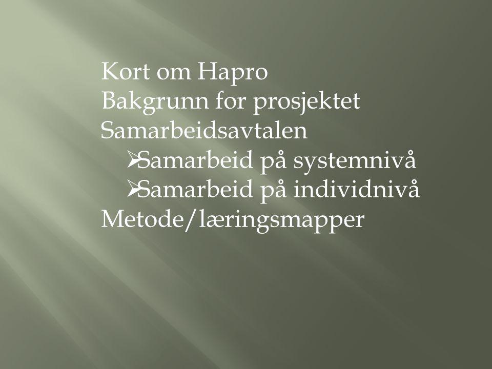 Kort om Hapro Bakgrunn for prosjektet Samarbeidsavtalen  Samarbeid på systemnivå  Samarbeid på individnivå Metode/læringsmapper