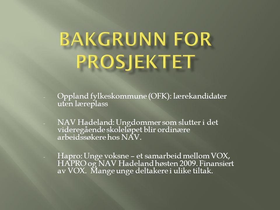 - Oppland fylkeskommune (OFK): lærekandidater uten læreplass - NAV Hadeland: Ungdommer som slutter i det videregående skoleløpet blir ordinære arbeidssøkere hos NAV.