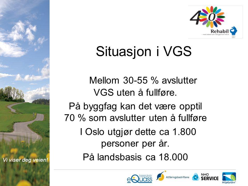 Vi viser deg veien. Situasjon i VGS Mellom 30-55 % avslutter VGS uten å fullføre.