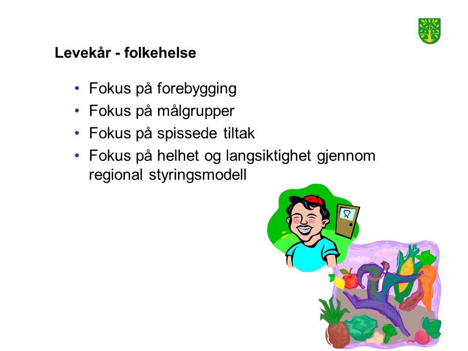 Levekår - folkehelse Fokus på forebygging Fokus på målgrupper Fokus på spissede tiltak Fokus på helhet og langsiktighet gjennom regional styringsmodell