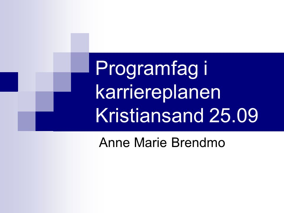 Programfag i karriereplanen Kristiansand 25.09 Anne Marie Brendmo