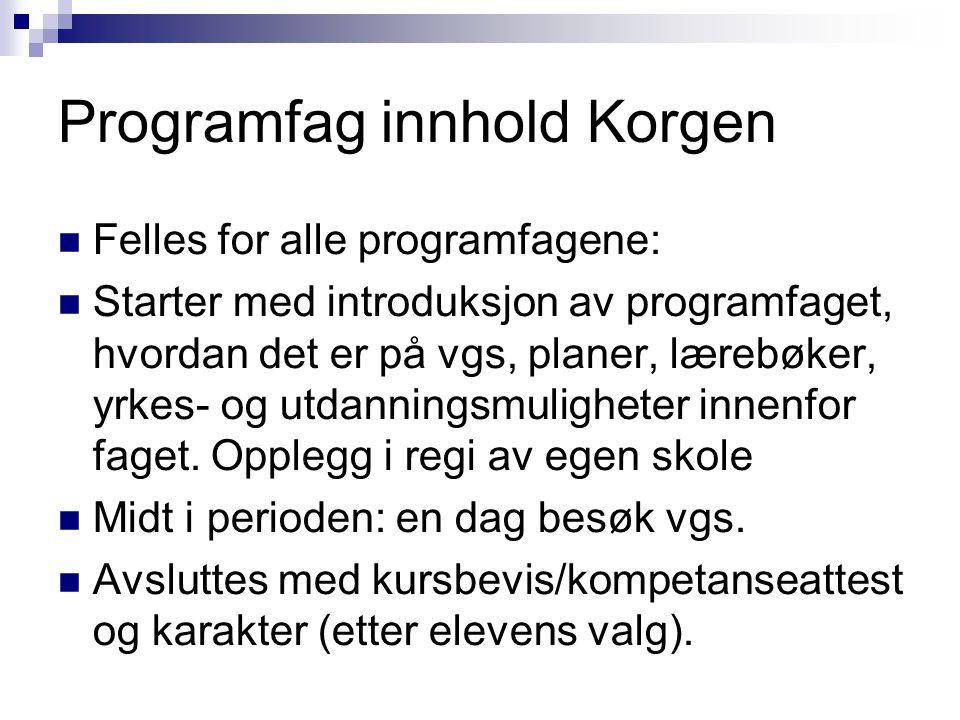 Programfag innhold Korgen Felles for alle programfagene: Starter med introduksjon av programfaget, hvordan det er på vgs, planer, lærebøker, yrkes- og utdanningsmuligheter innenfor faget.