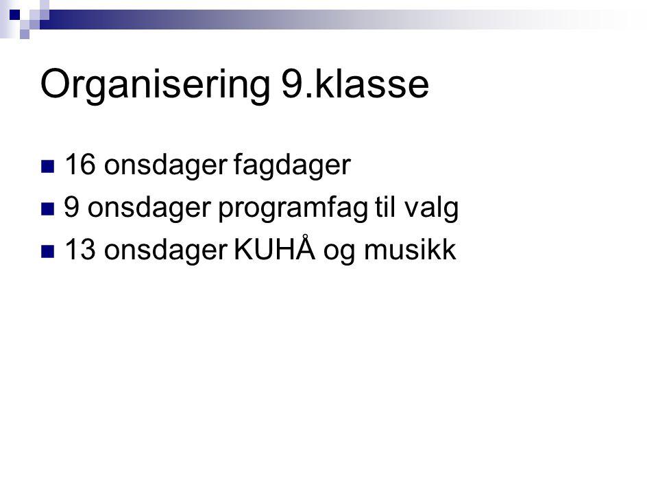 Organisering 9.klasse 16 onsdager fagdager 9 onsdager programfag til valg 13 onsdager KUHÅ og musikk