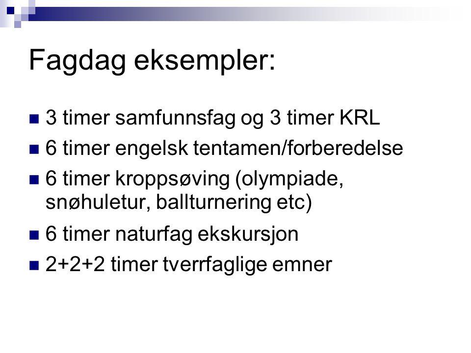 Fagdag eksempler: 3 timer samfunnsfag og 3 timer KRL 6 timer engelsk tentamen/forberedelse 6 timer kroppsøving (olympiade, snøhuletur, ballturnering etc) 6 timer naturfag ekskursjon 2+2+2 timer tverrfaglige emner