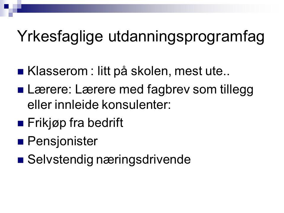 Yrkesfaglige utdanningsprogramfag Klasserom : litt på skolen, mest ute..
