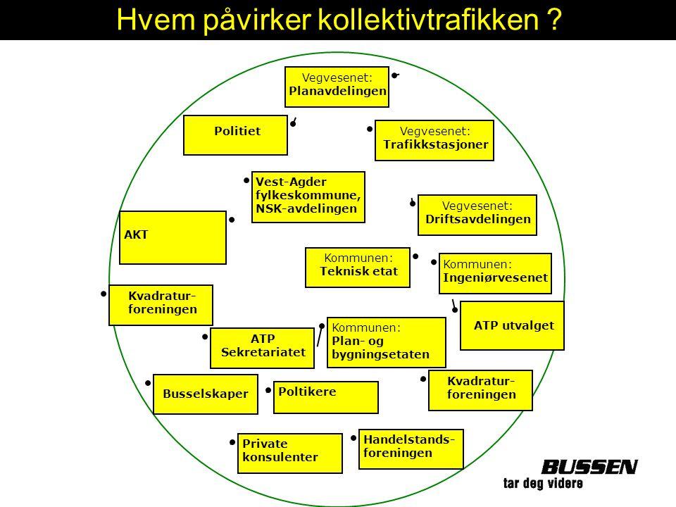 Vegvesenet: Planavdelingen Politiet Vest-Agder fylkeskommune, NSK-avdelingen AKT Kvadratur- foreningen Busselskaper Private konsulenter Vegvesenet: Tr