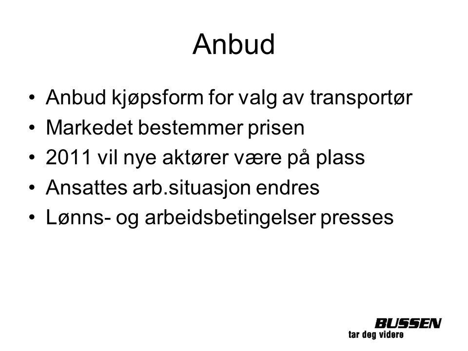 Anbud Anbud kjøpsform for valg av transportør Markedet bestemmer prisen 2011 vil nye aktører være på plass Ansattes arb.situasjon endres Lønns- og arb