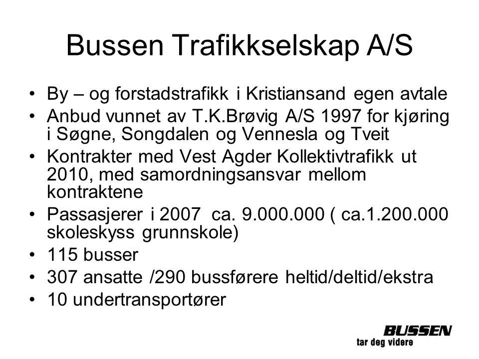 Bussen Trafikkselskap A/S By – og forstadstrafikk i Kristiansand egen avtale Anbud vunnet av T.K.Brøvig A/S 1997 for kjøring i Søgne, Songdalen og Ven