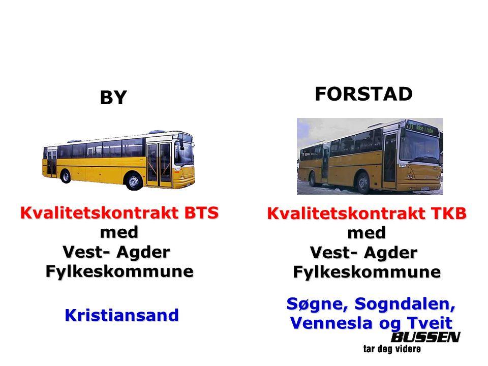 Kvalitetskontrakt BTS med Vest- Agder Fylkeskommune Kristiansand Kvalitetskontrakt TKB med Vest- Agder Fylkeskommune Søgne, Sogndalen, Vennesla og Tve