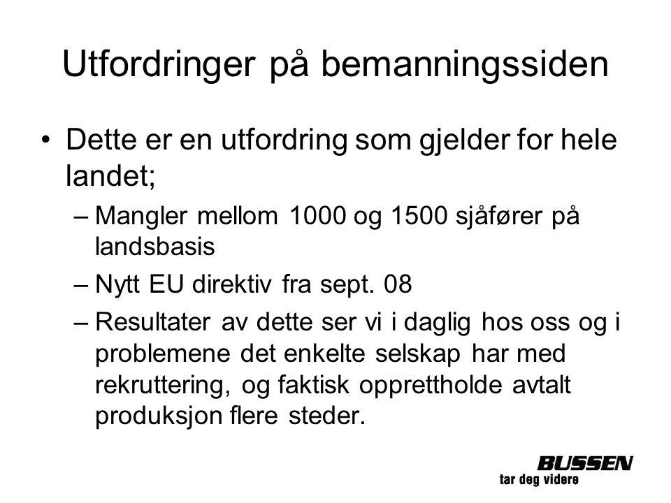 Utfordringer på bemanningssiden Dette er en utfordring som gjelder for hele landet; –Mangler mellom 1000 og 1500 sjåfører på landsbasis –Nytt EU direk