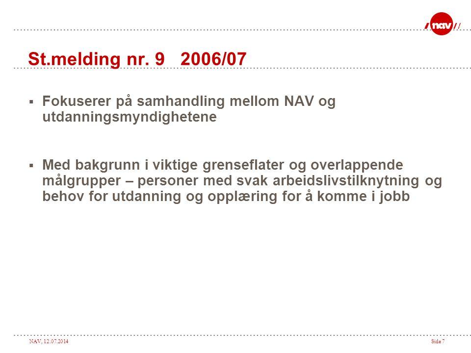 NAV, 12.07.2014Side 8 Samarbeidsavtale inngått 2.5.07  Avtale mellom Arbeids – og inkluderingsdep.