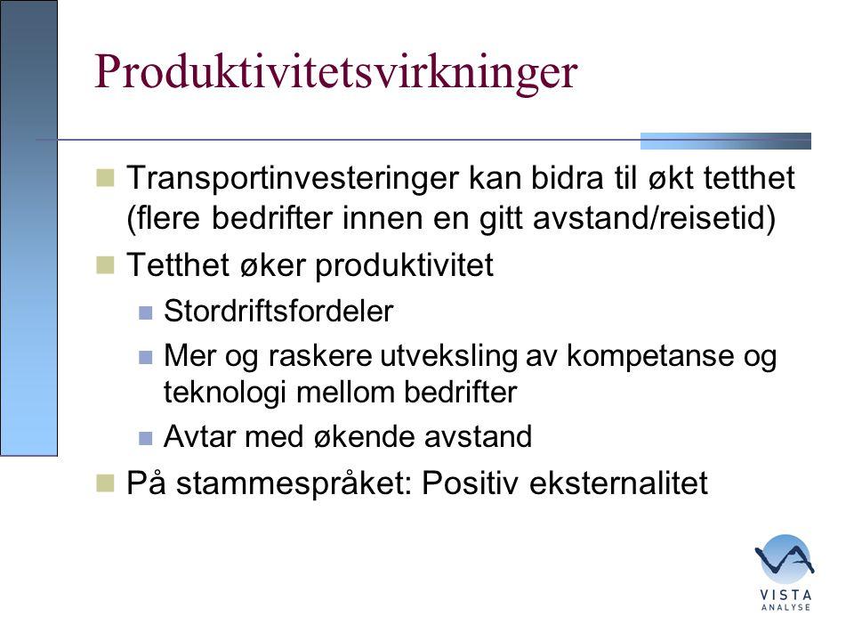 Produktivitetsvirkninger Transportinvesteringer kan bidra til økt tetthet (flere bedrifter innen en gitt avstand/reisetid) Tetthet øker produktivitet Stordriftsfordeler Mer og raskere utveksling av kompetanse og teknologi mellom bedrifter Avtar med økende avstand På stammespråket: Positiv eksternalitet