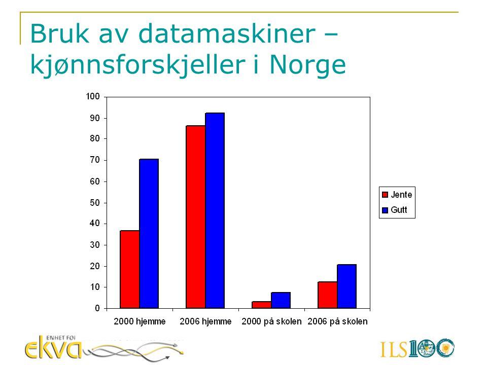 Bruk av datamaskiner – kjønnsforskjeller i Norge