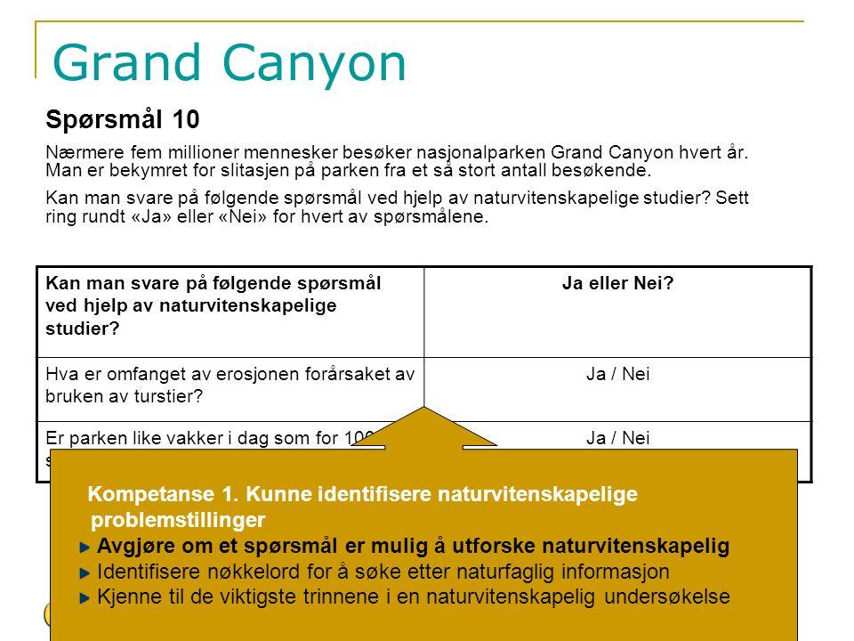 Grand Canyon Spørsmål 10 Nærmere fem millioner mennesker besøker nasjonalparken Grand Canyon hvert år. Man er bekymret for slitasjen på parken fra et