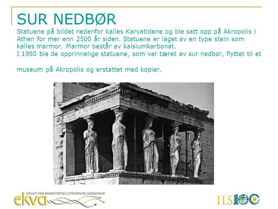 SUR NEDBØR Statuene på bildet nedenfor kalles Karyatidene og ble satt opp på Akropolis i Athen for mer enn 2500 år siden. Statuene er laget av en type