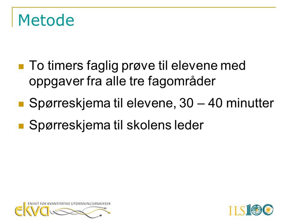 Metode To timers faglig prøve til elevene med oppgaver fra alle tre fagområder Spørreskjema til elevene, 30 – 40 minutter Spørreskjema til skolens led