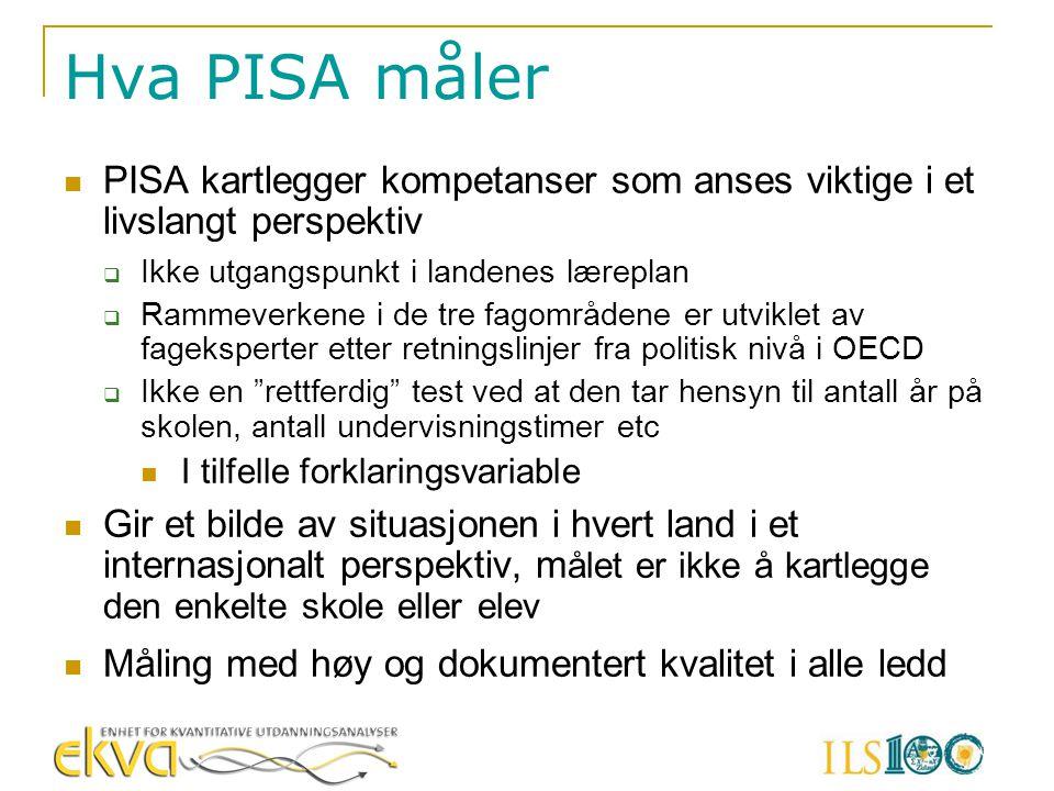 Hva PISA måler PISA kartlegger kompetanser som anses viktige i et livslangt perspektiv  Ikke utgangspunkt i landenes læreplan  Rammeverkene i de tre
