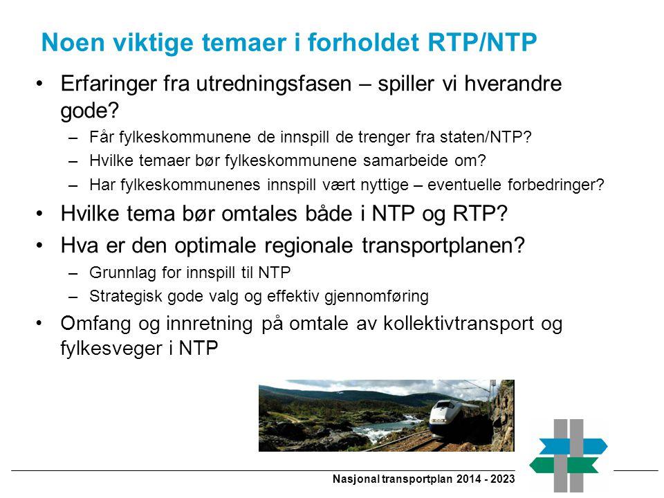 Nasjonal transportplan 2014 - 2023 Noen viktige temaer i forholdet RTP/NTP Erfaringer fra utredningsfasen – spiller vi hverandre gode.