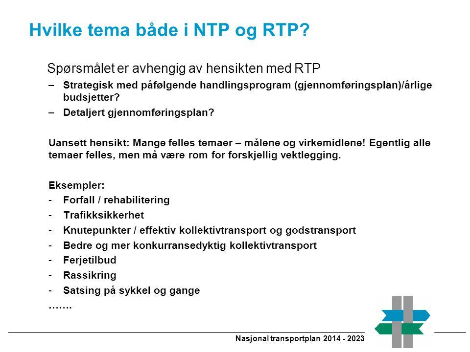 Nasjonal transportplan 2014 - 2023 Hvilke tema både i NTP og RTP.