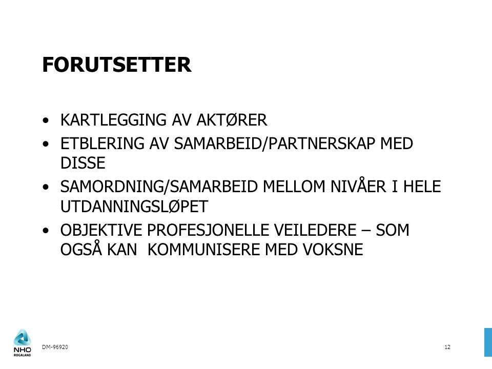 DM-9692012 FORUTSETTER KARTLEGGING AV AKTØRER ETBLERING AV SAMARBEID/PARTNERSKAP MED DISSE SAMORDNING/SAMARBEID MELLOM NIVÅER I HELE UTDANNINGSLØPET OBJEKTIVE PROFESJONELLE VEILEDERE – SOM OGSÅ KAN KOMMUNISERE MED VOKSNE