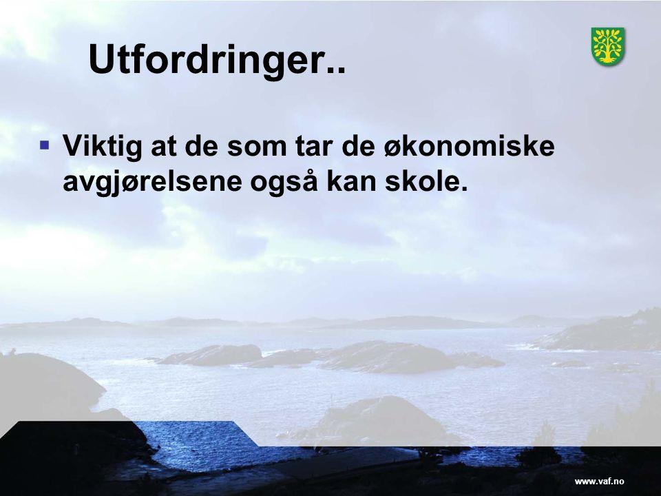 www.vaf.no Utfordringer..  Viktig at de som tar de økonomiske avgjørelsene også kan skole.