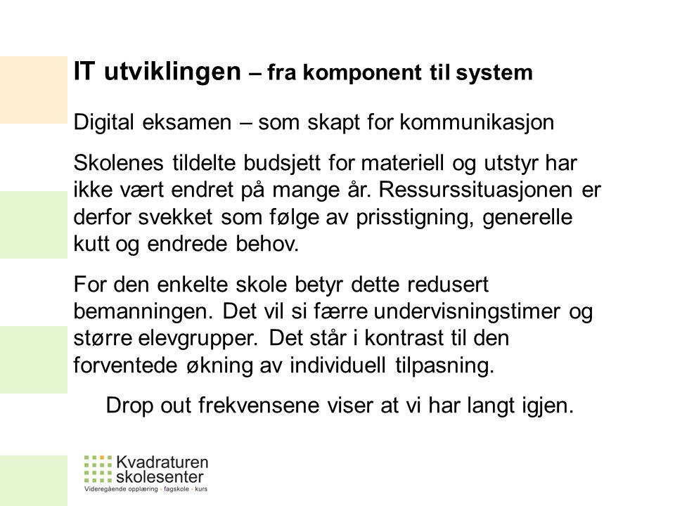 Digital eksamen – som skapt for kommunikasjon Skolenes tildelte budsjett for materiell og utstyr har ikke vært endret på mange år.