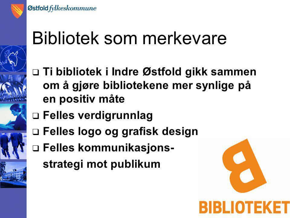 Bibliotek som merkevare  Ti bibliotek i Indre Østfold gikk sammen om å gjøre bibliotekene mer synlige på en positiv måte  Felles verdigrunnlag  Felles logo og grafisk design  Felles kommunikasjons- strategi mot publikum