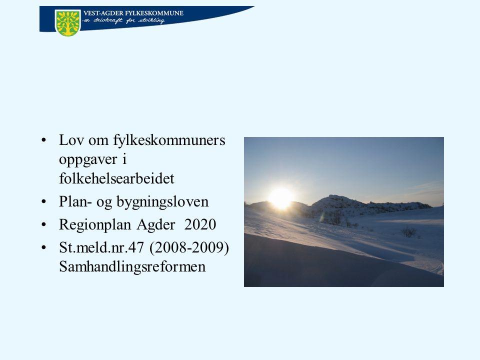 Lov om fylkeskommuners oppgaver i folkehelsearbeidet Plan- og bygningsloven Regionplan Agder 2020 St.meld.nr.47 (2008-2009) Samhandlingsreformen