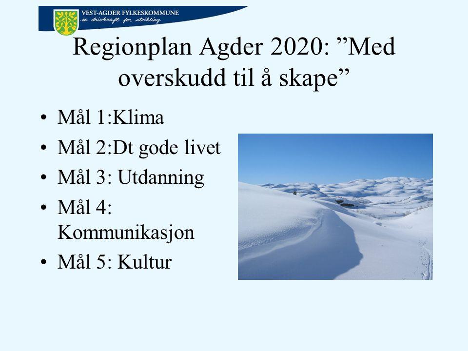 Regionplan Agder 2020: Med overskudd til å skape Mål 1:Klima Mål 2:Dt gode livet Mål 3: Utdanning Mål 4: Kommunikasjon Mål 5: Kultur