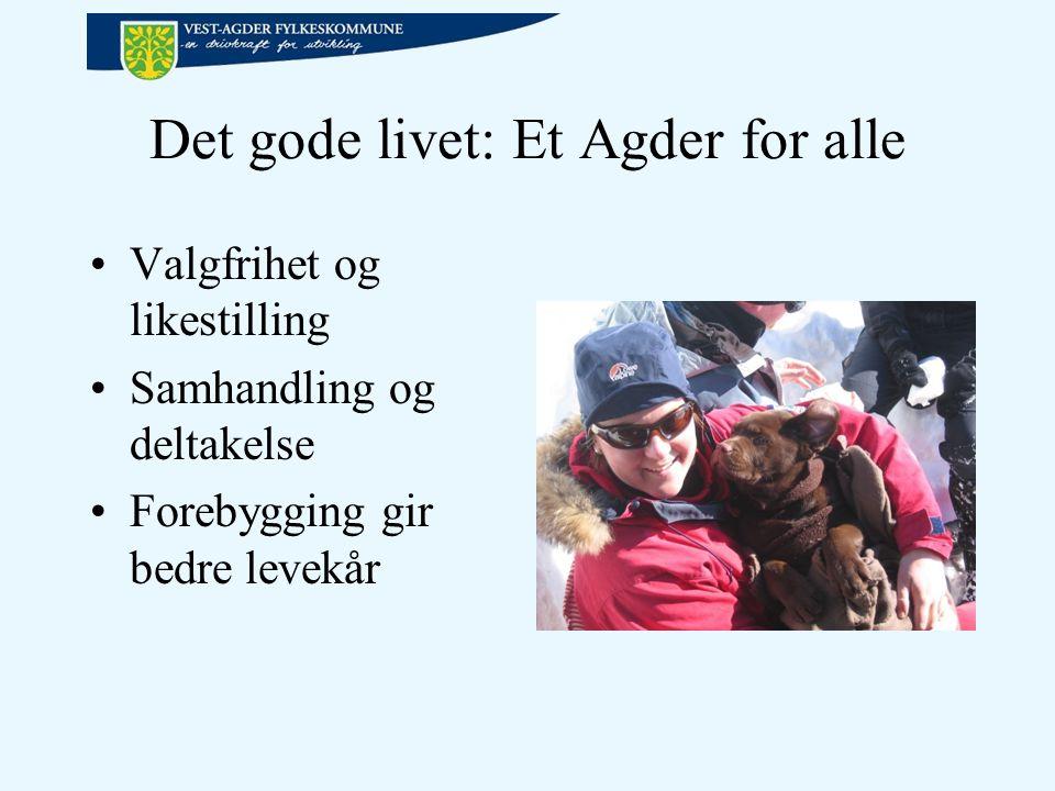 Det gode livet: Et Agder for alle Valgfrihet og likestilling Samhandling og deltakelse Forebygging gir bedre levekår