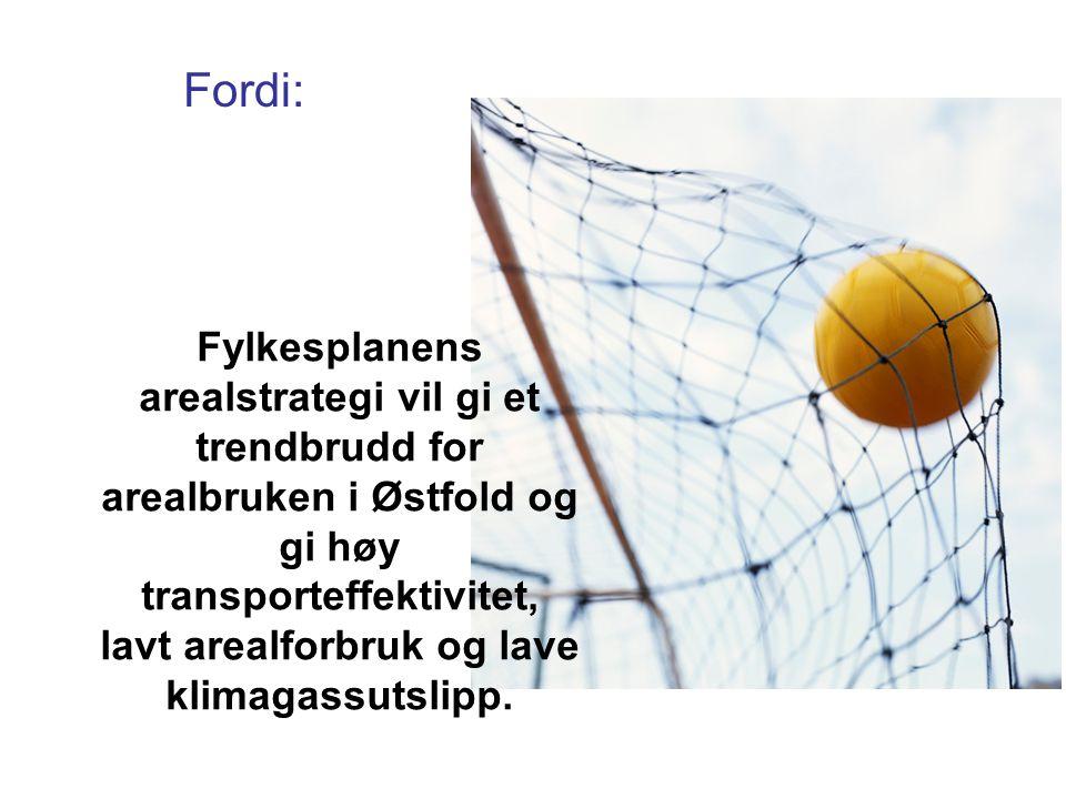 Fylkesplanens arealstrategi vil gi et trendbrudd for arealbruken i Østfold og gi høy transporteffektivitet, lavt arealforbruk og lave klimagassutslipp.