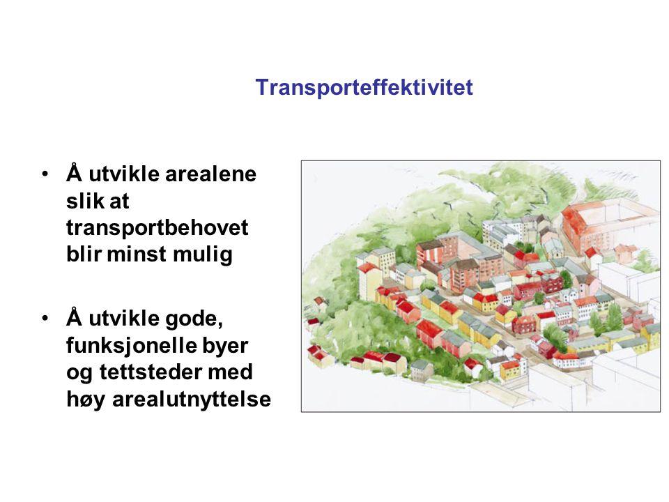 Transporteffektivitet Å utvikle arealene slik at transportbehovet blir minst mulig Å utvikle gode, funksjonelle byer og tettsteder med høy arealutnyttelse