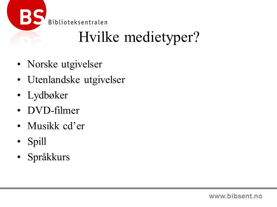 www.bibsent.no Norske bokutgivelser BS tilbyr i BS-Katalogen mesteparten av det som utkommer på det norske markedet av skjønn- og faktabøker for barn, ungdom og voksne BS skaffer tilnærmet alt som utkommer i Norge, og disse titlene er tilgjengelige i nettbutikken