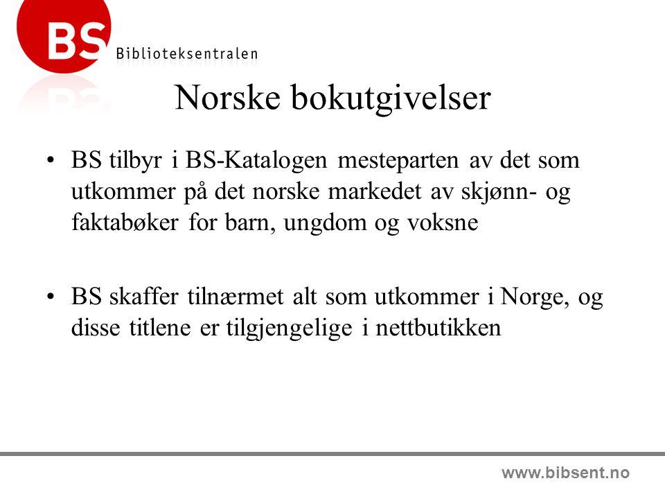 www.bibsent.no Abonnementsordninger BS Bestselgerabonnement norske bøker BS Bestselgerabonnement engelske bøker Lydbokabonnement Årbøker Serier