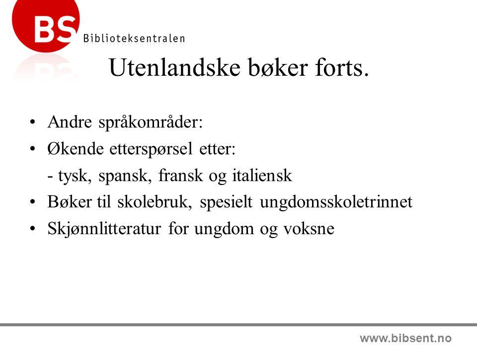 www.bibsent.no Lydbøker Lydbøker fra alle norske utgivere Engelskspråklige lydbøker Skaffer også på andre språk Abonnementsordning Ompakk av lydbøker