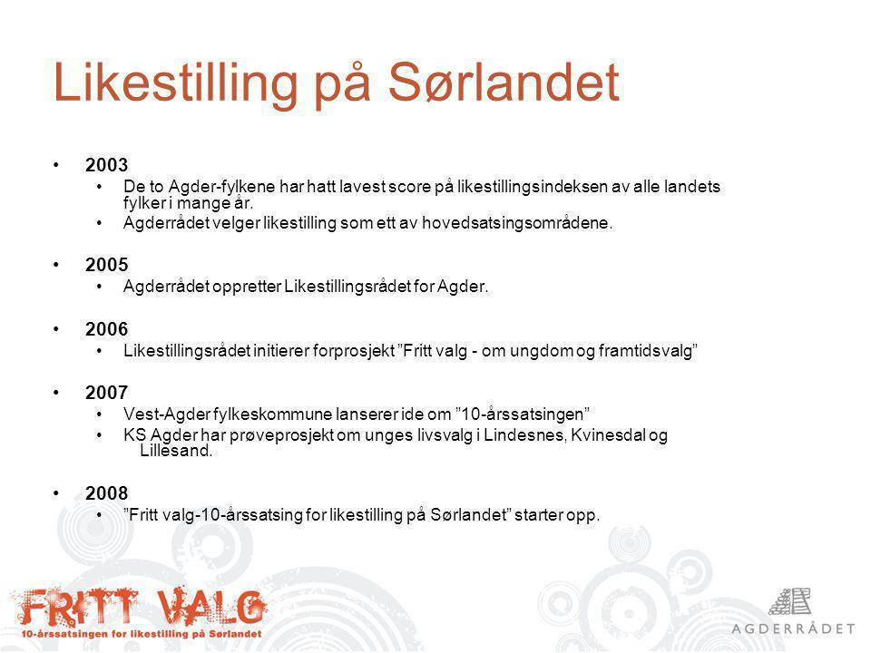 Likestilling på Sørlandet 2003 De to Agder-fylkene har hatt lavest score på likestillingsindeksen av alle landets fylker i mange år.