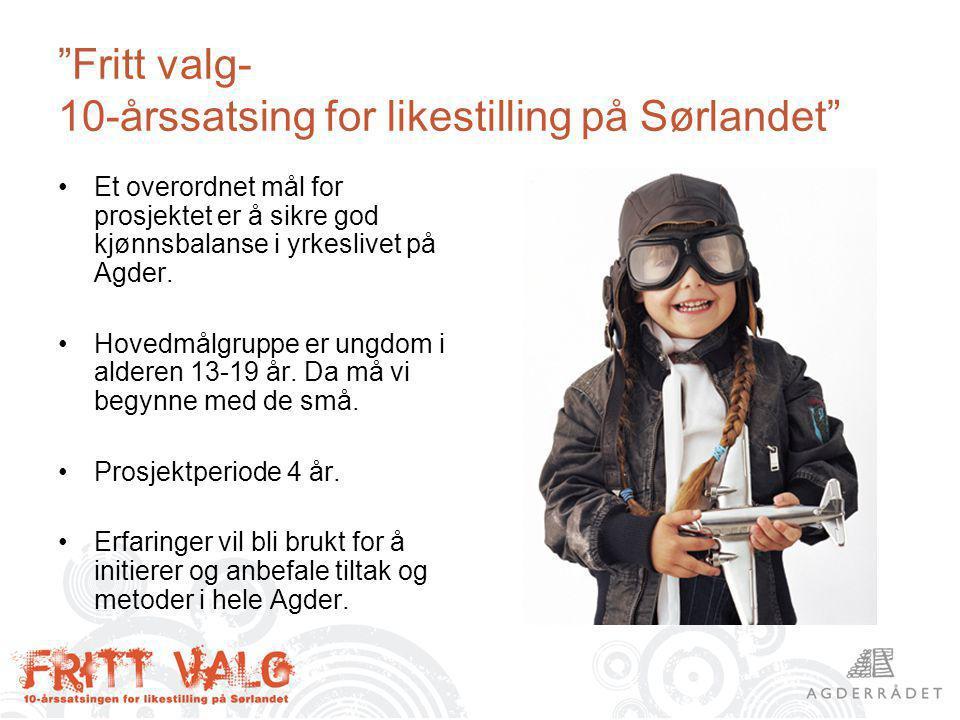Fritt valg- 10-årssatsing for likestilling på Sørlandet Et overordnet mål for prosjektet er å sikre god kjønnsbalanse i yrkeslivet på Agder.