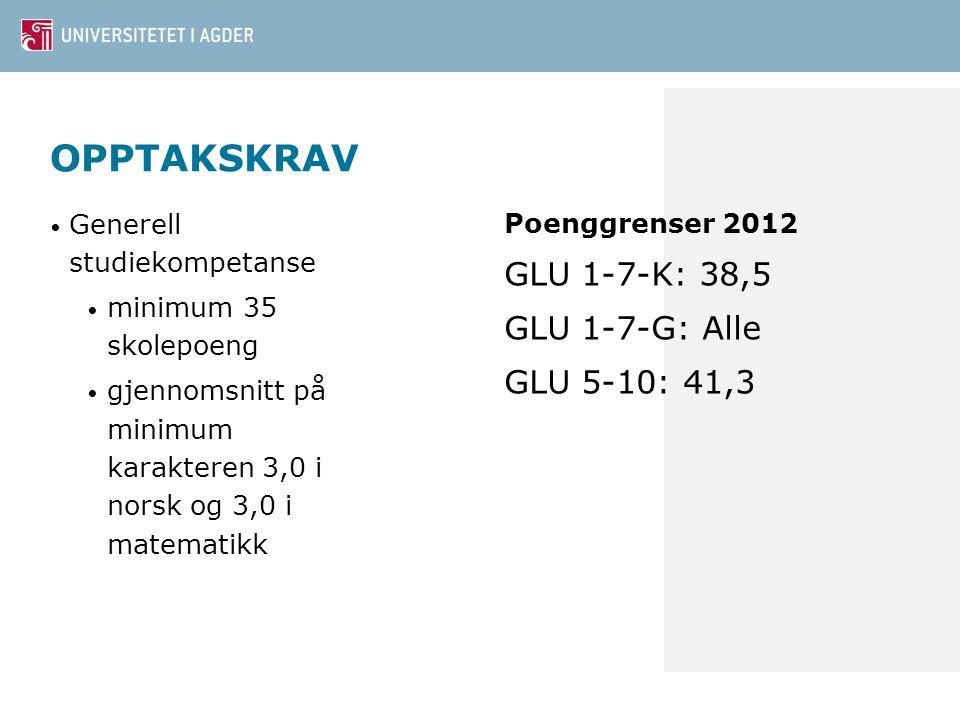 OPPTAKSKRAV Generell studiekompetanse minimum 35 skolepoeng gjennomsnitt på minimum karakteren 3,0 i norsk og 3,0 i matematikk Poenggrenser 2012 GLU 1