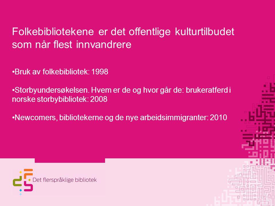 Folkebibliotekene er det offentlige kulturtilbudet som når flest innvandrere Bruk av folkebibliotek: 1998 Storbyundersøkelsen.