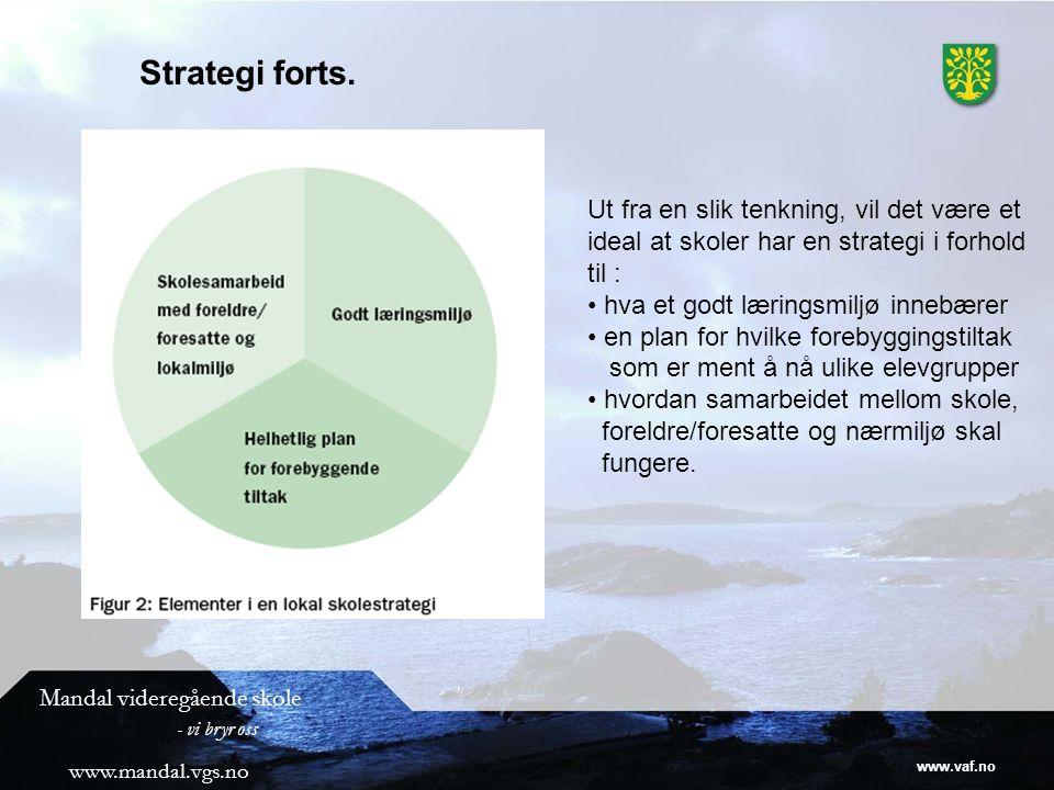 www.vaf.no Mandal videregående skole - vi bryr oss www.mandal.vgs.no Strategi forts.