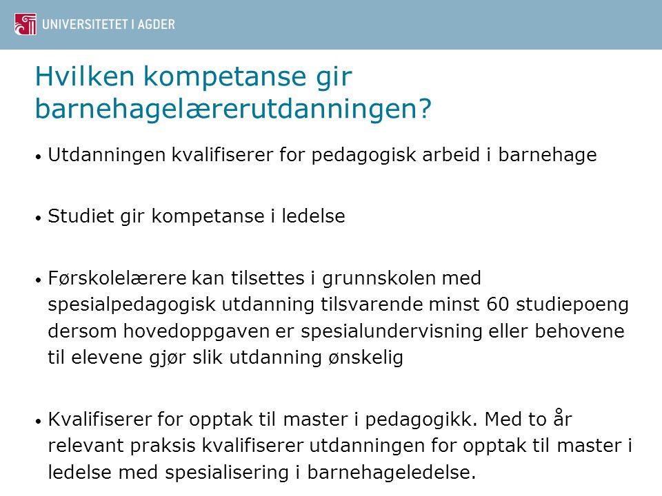 12 Hvilken kompetanse gir barnehagelærerutdanningen? Utdanningen kvalifiserer for pedagogisk arbeid i barnehage Studiet gir kompetanse i ledelse Førsk